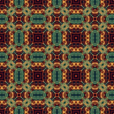 Seamless raster pattern in oriental style Flower psychedelic mosaic Pattern for wallpaper, backgrounds, decor for tapestries, carpet.
