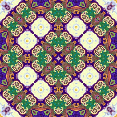 Seamless raster pattern in oriental style Flower psychedelic mosaic Pattern for wallpaper, backgrounds, decor for tapestries, carpet
