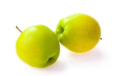 Green apples fruit against on white background