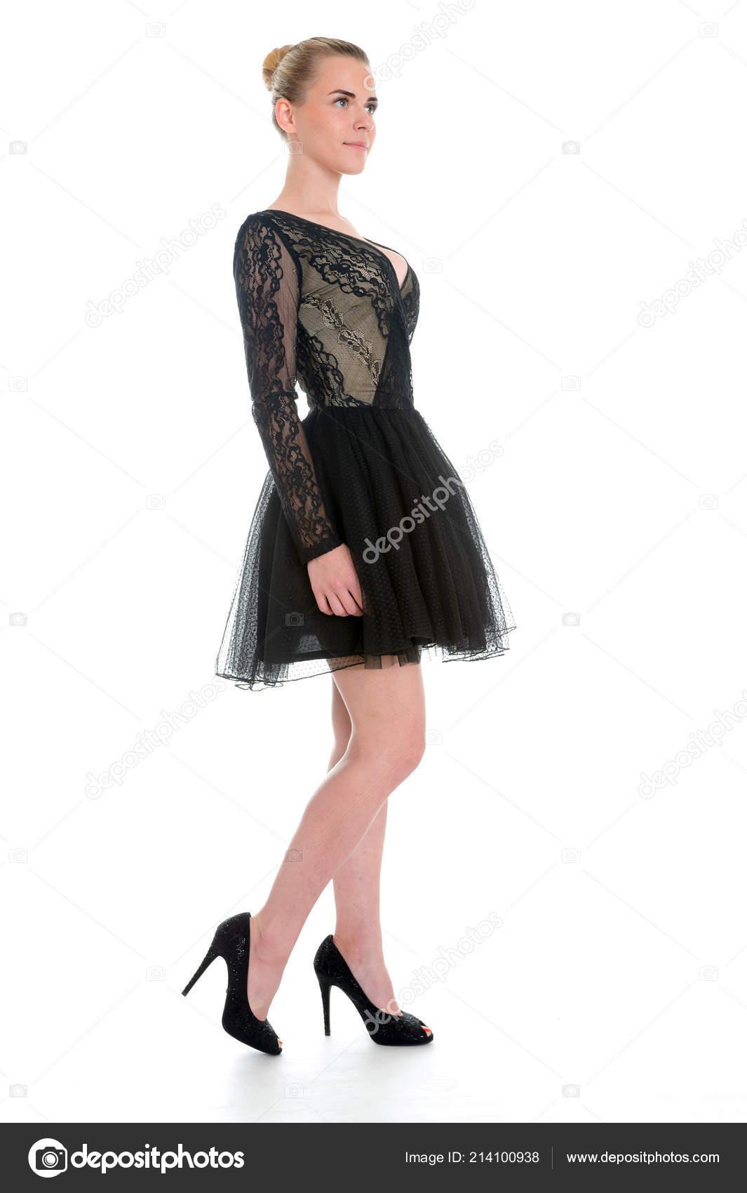 Vestido Noche Encaje Negro Modelo Femenino Caucásico Estudio