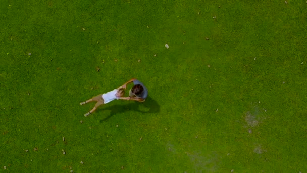 Aerial slowmotion shot of a father circling his son in his arms on a green lawn. camera raises up