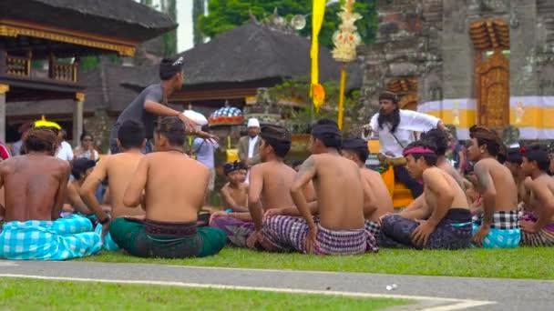 Bali Indonesia - May 15, 2018: Traditional Balinese Kecak Dance at Pura Ulun Danu temple on the lake Bratan