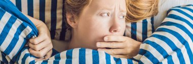 Morning of young pregnant woman suffering from toxicosis at home. BANNER, long format