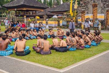 BALI - MAY 20, 2018: traditional Balinese Kecak dance at Ulun Danu Temple