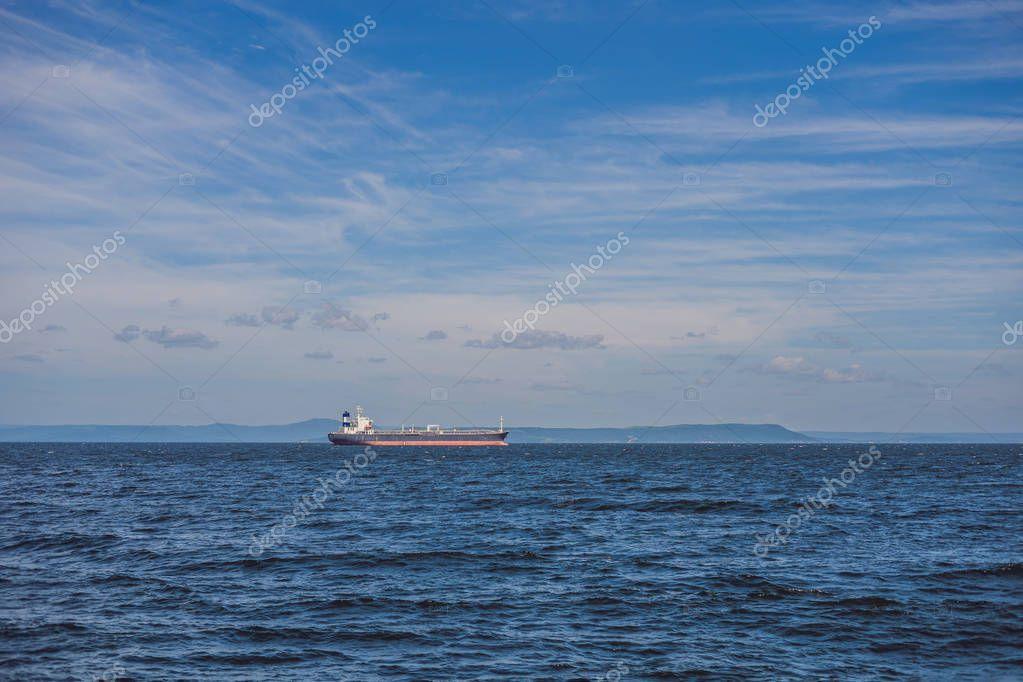 big oil tanker in the open sea