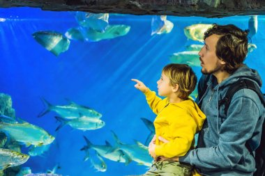 Father with son visiting oceanarium and looking fishes in aquarium.