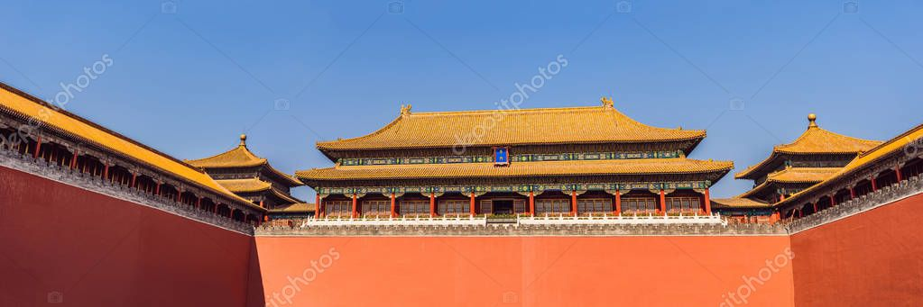 Ancient royal palaces of the Forbidden City in Beijing,China BANNER, LONG FORMAT
