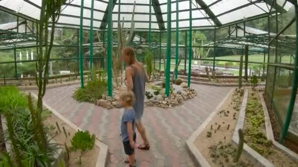 család, meglátogatta a kaktuszok, kaktusz zóna egy botanikus kert, Pennang, Malajzia
