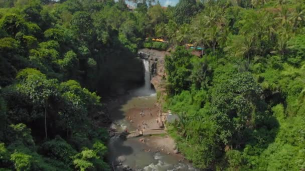 Aerial shot of the Tegenungan Waterfall on the Bali island, Ubud