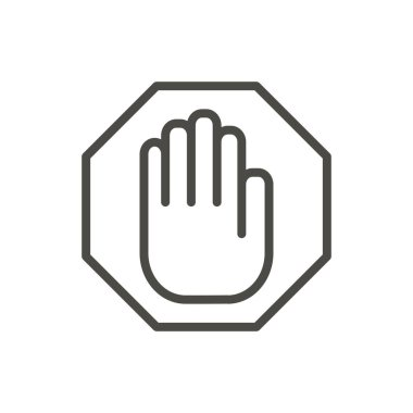 Stop hand icon vector. Line warning symbol isolated. Trendy flat outline ui sign design. Thin linear graphic pictogram for web site, mobile app. Logo illustration. Eps10.