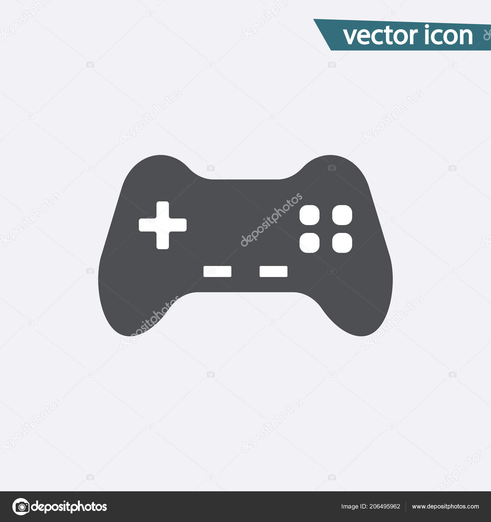 Gray Game Controller Icon Isolated On Background Modern Flat