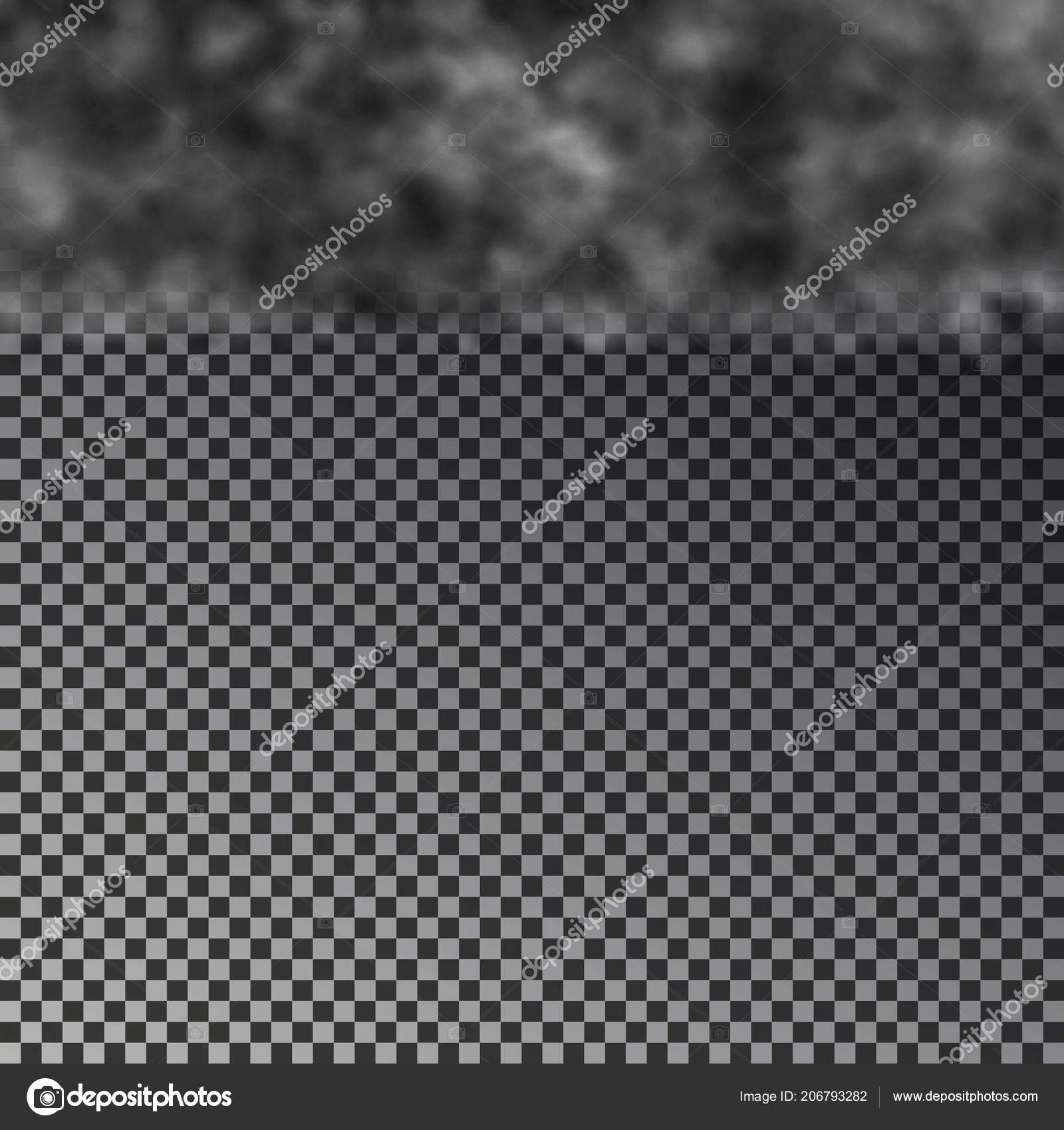 dark cloud on top isolated on checkered background transparent