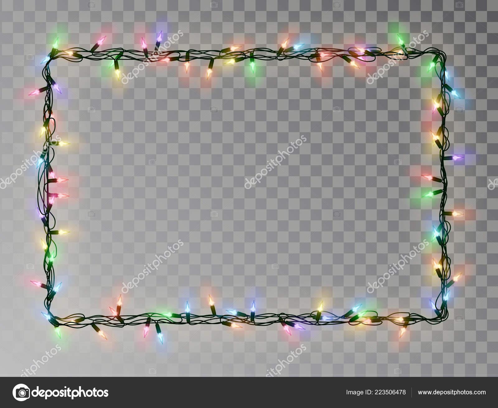 Christmas Light Border.Christmas Lights Border Vector Light String Frame Isolated