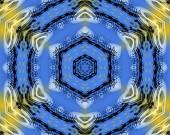 Fotografie Gelbe und blaue abstrakte Muster Hintergrund füllen der Rahmen