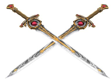 Long fantasy sword with red stone on an isolated background. 3d illustration