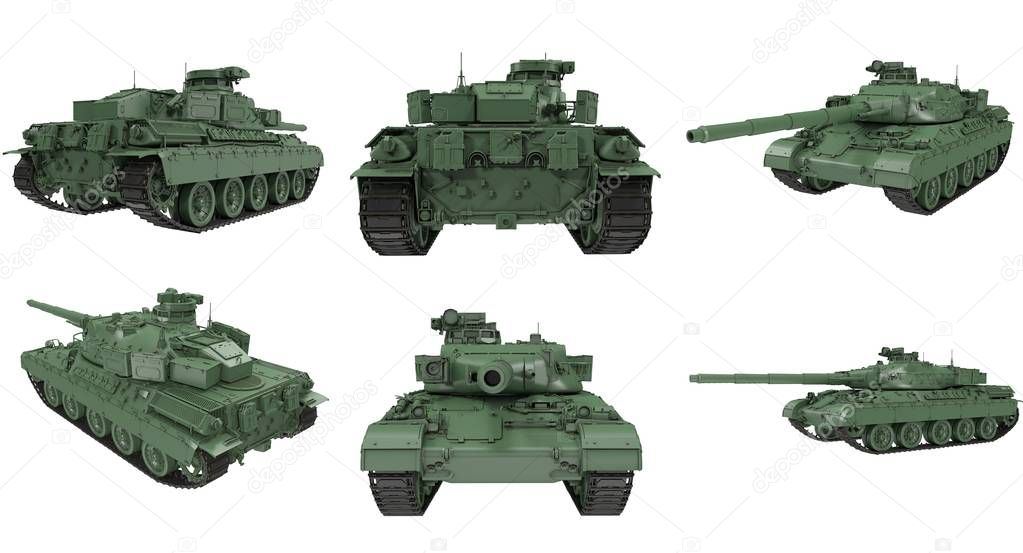 Military French tank AMX 30b2 . 3d illustration stock vector
