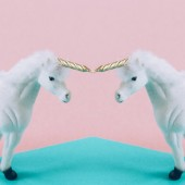 White unicorn, Mirror effect on pink and blue background.