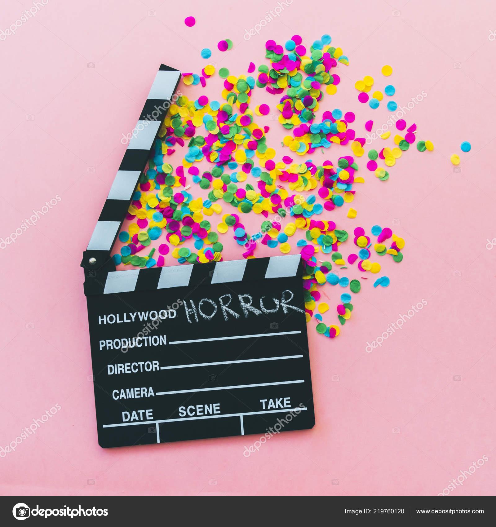 Confetti Clapperboard Horror Movie Halloween Concept — Stock Photo
