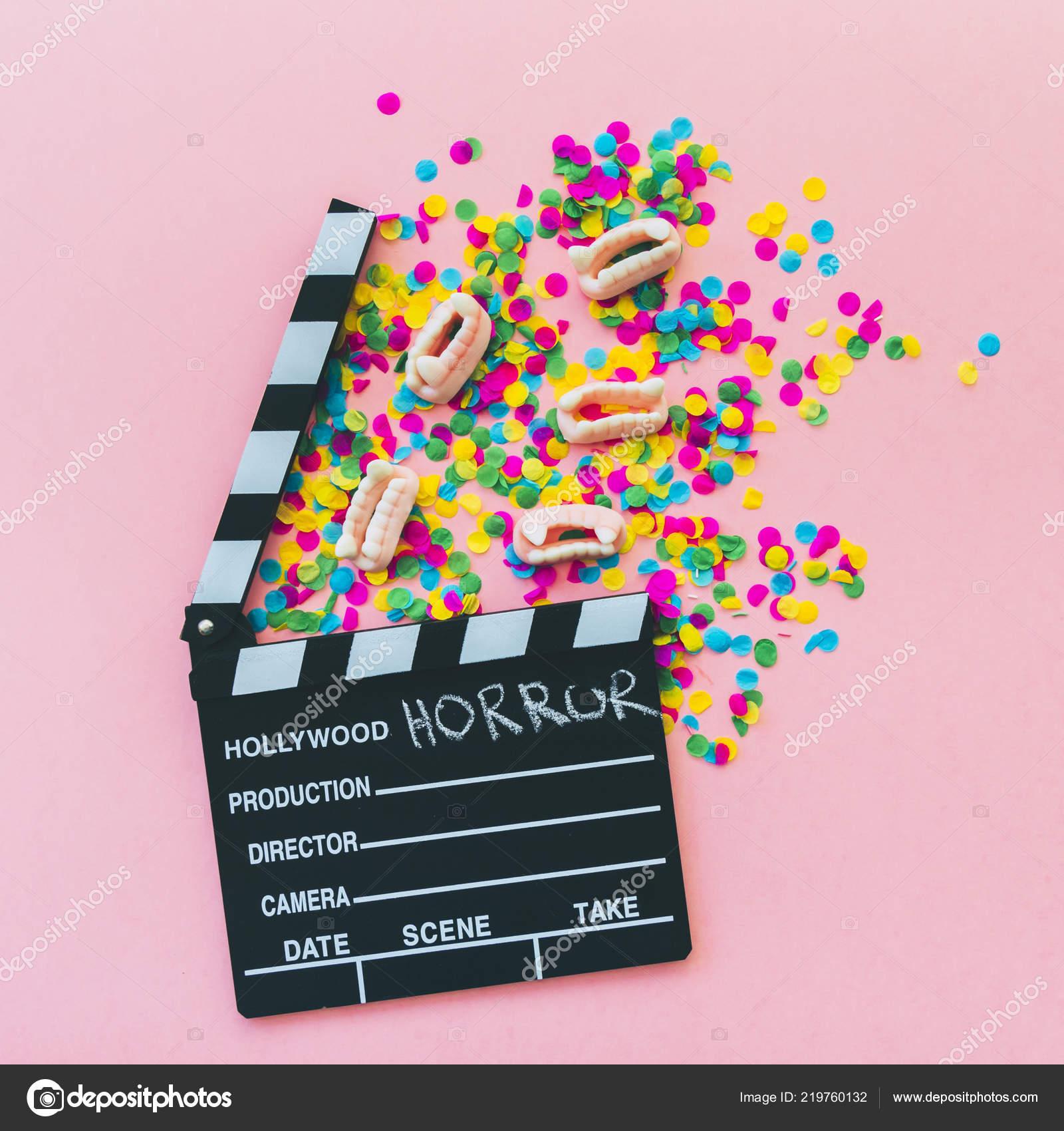 Vampire Fangs Confetti Clapperboard Horror Movie Halloween Concept