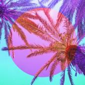 Estetického umění koláž s palmami v inverzi růžové a fialové barvy a kruh rám.