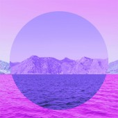 Awesome view of nature with mountains and sea in inversion purple colours and mirror reflection in circle frame.