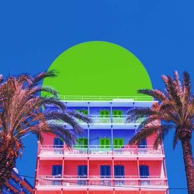 Art collage with summer hotel and inversion colours in circle frame.