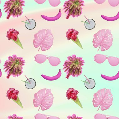 Contemporary zine art collage. Pattern of palm trees, ice cream with flower blossom, monstera leaves and half of coconut cocktail. Gradient backgroun