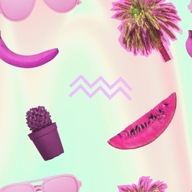 Contemporary zine art collage. Pattern of palm trees, cactus, bananas and sunglasses.