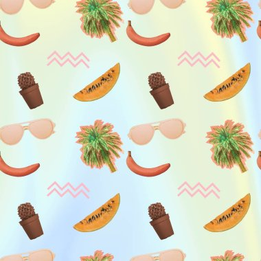Contemporary zine art collage. Pattern of palm trees, cactus, bananas, watermelon slices and sunglasses.