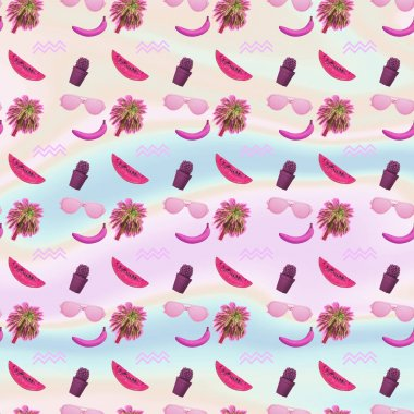 Contemporary zine art collage. Pattern of palm trees, cactus, bananas, watermelon slices and sunglasses.  Gradient background