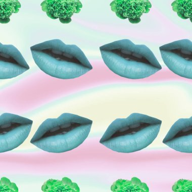 Contemporary zine art collage. Pattern of open mouths with blue lips and green flower blossoms