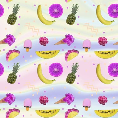 Contemporary zine art collage. Pattern of pineapples, ice creams with flower blossoms, watermelon slices, bananas and half oranges fruit. Gradient backgroun