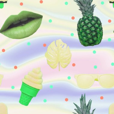Contemporary zine art collage. Pattern of ice creams, monstera leaves, green lips, sunglasses and pineapple on gradient holographic background