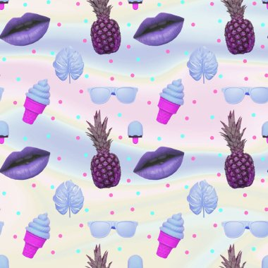 Contemporary zine art collage. Pattern of ice creams, monstera leaves, purple lips, sunglasses and pineapple