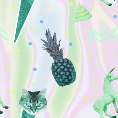 Contemporary zine art collage. Pattern of ice creams, cat heads, unicorn horse and pineapple