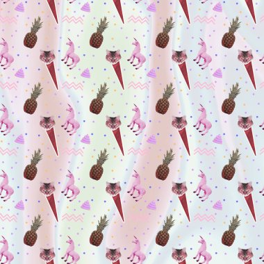 Contemporary zine art collage. Pattern of ice creams, cat heads, unicorn horses, pineapples and geometry elements on gradient holographic background