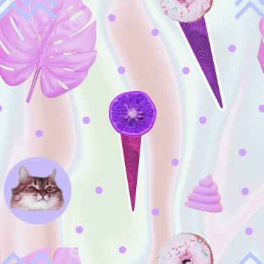 Contemporary zine art collage. Pattern of ice creams, cat heads, unicorn pink poo and monstera leaves