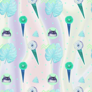 Contemporary zine art collage. Pattern of ice creams, cat heads, unicorn pink poo and monstera leaves on gradient holographic background