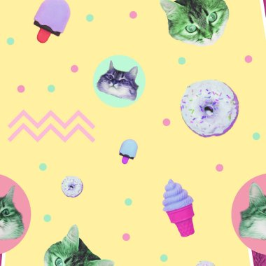 Contemporary zine art collage. Pattern of ice creams, cat heads, donuts and geometry elements