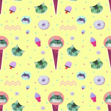 Contemporary zine art collage. Pattern of ice creams, cat heads, donuts and geometry elements on yellow background