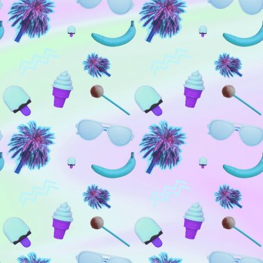Contemporary zine art collage. Pattern of palm trees, ice creams, bananas, lollipops and sunglasses.