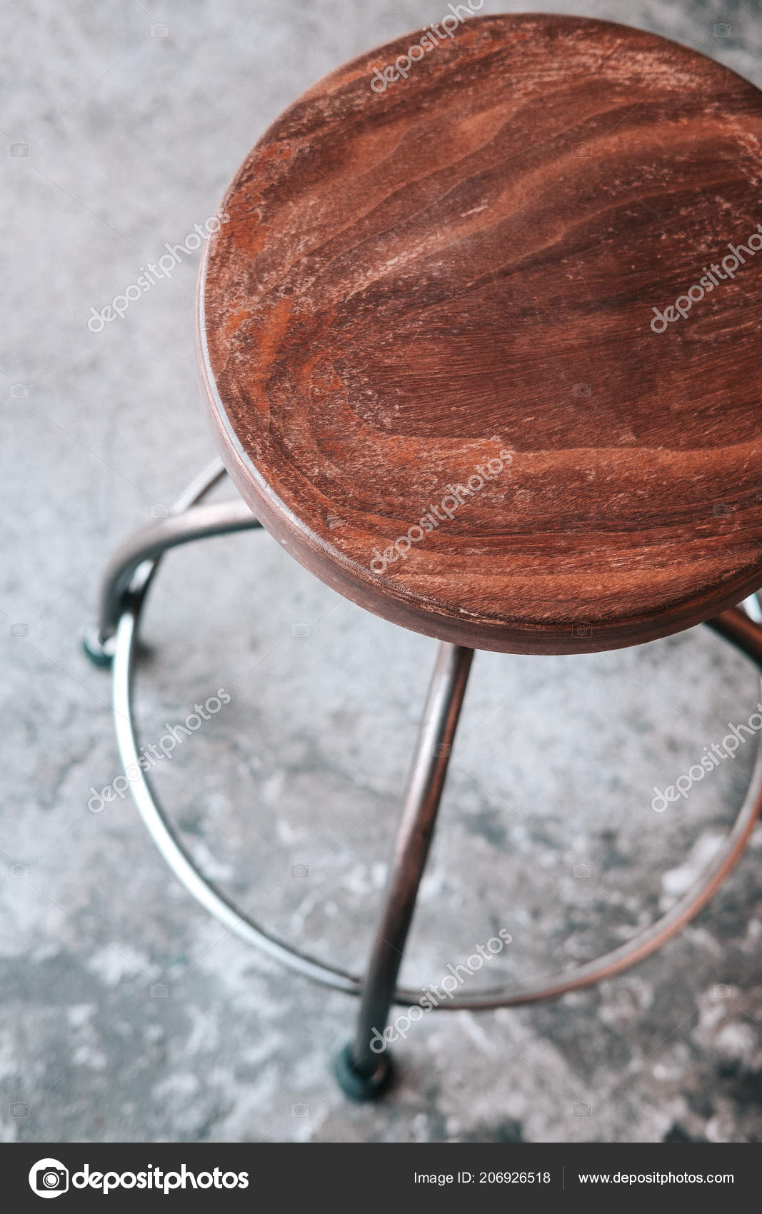 Wood Metal Backless Bar Stool Grey Concrete Floor Loft Minimalism Stock Photo C Julypi 206926518