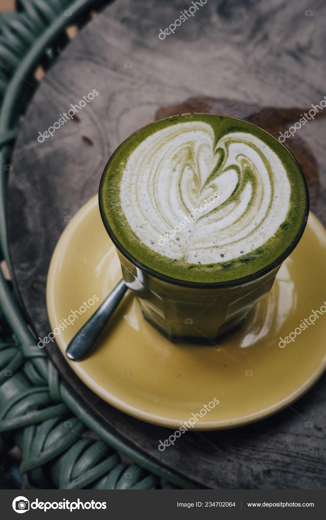 Matcha Tea Latte Art Vegan Coconut Milk Outdoor Coffee Shop Stock Photo C Julypi 234702064