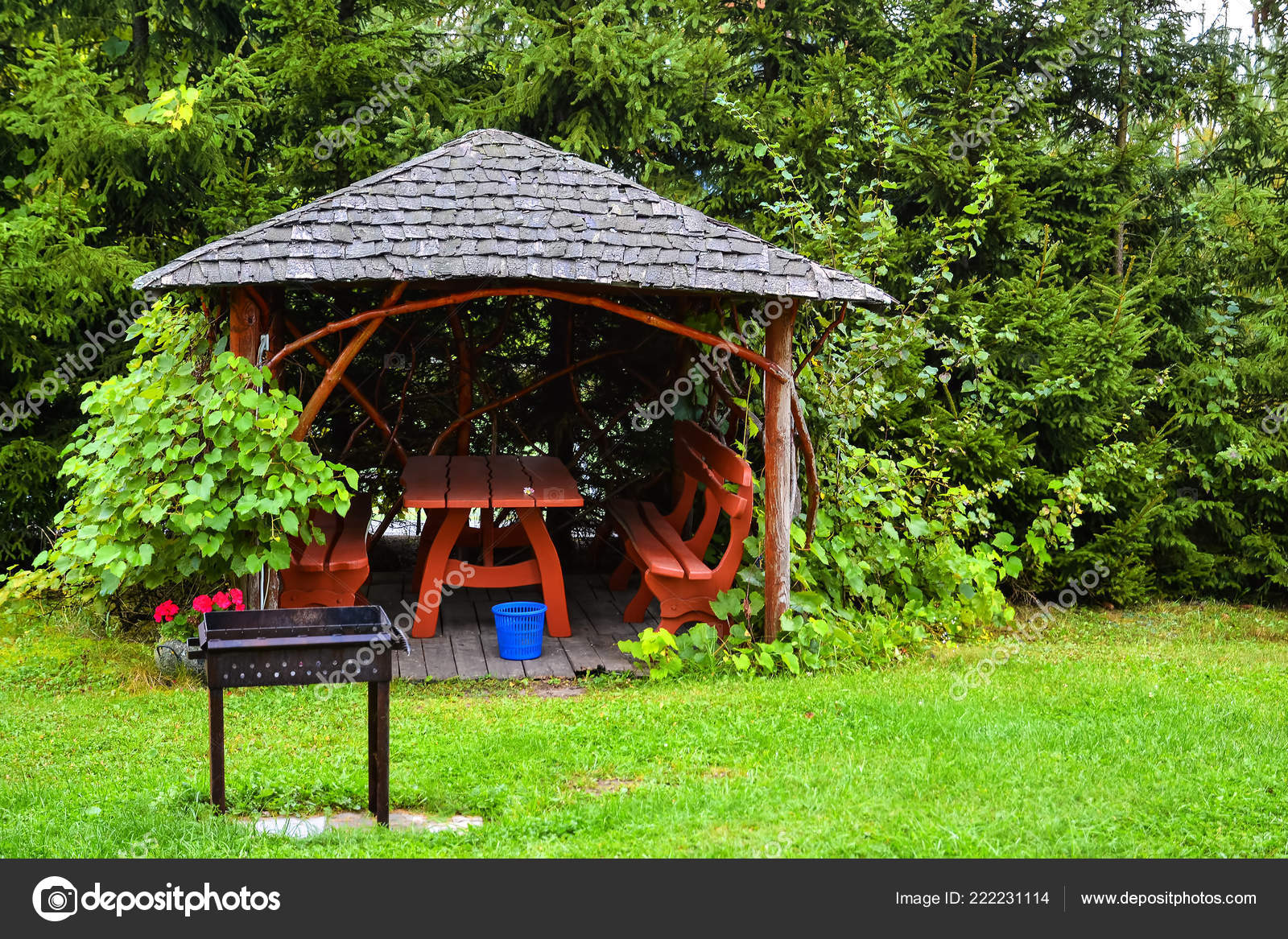 Super Wooden Pergola Autumn Garden Resting Place Table Benches Forskolin Free Trial Chair Design Images Forskolin Free Trialorg