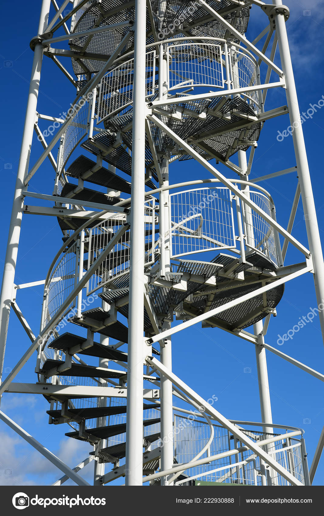 Spiral Staircase Lookout Tower Construction Metal Steps Observation