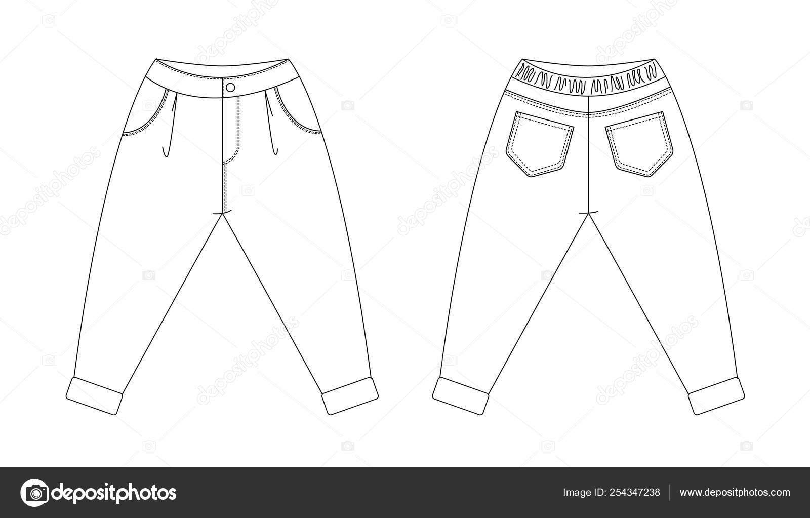 Technical Drawing Of Childrens Fashion Pants With Pleats And Cuffs For Kids Front And Back Views Stock Vector C Evgenialo 254347238