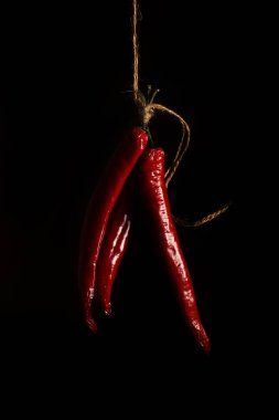 red pepper pod on a black background