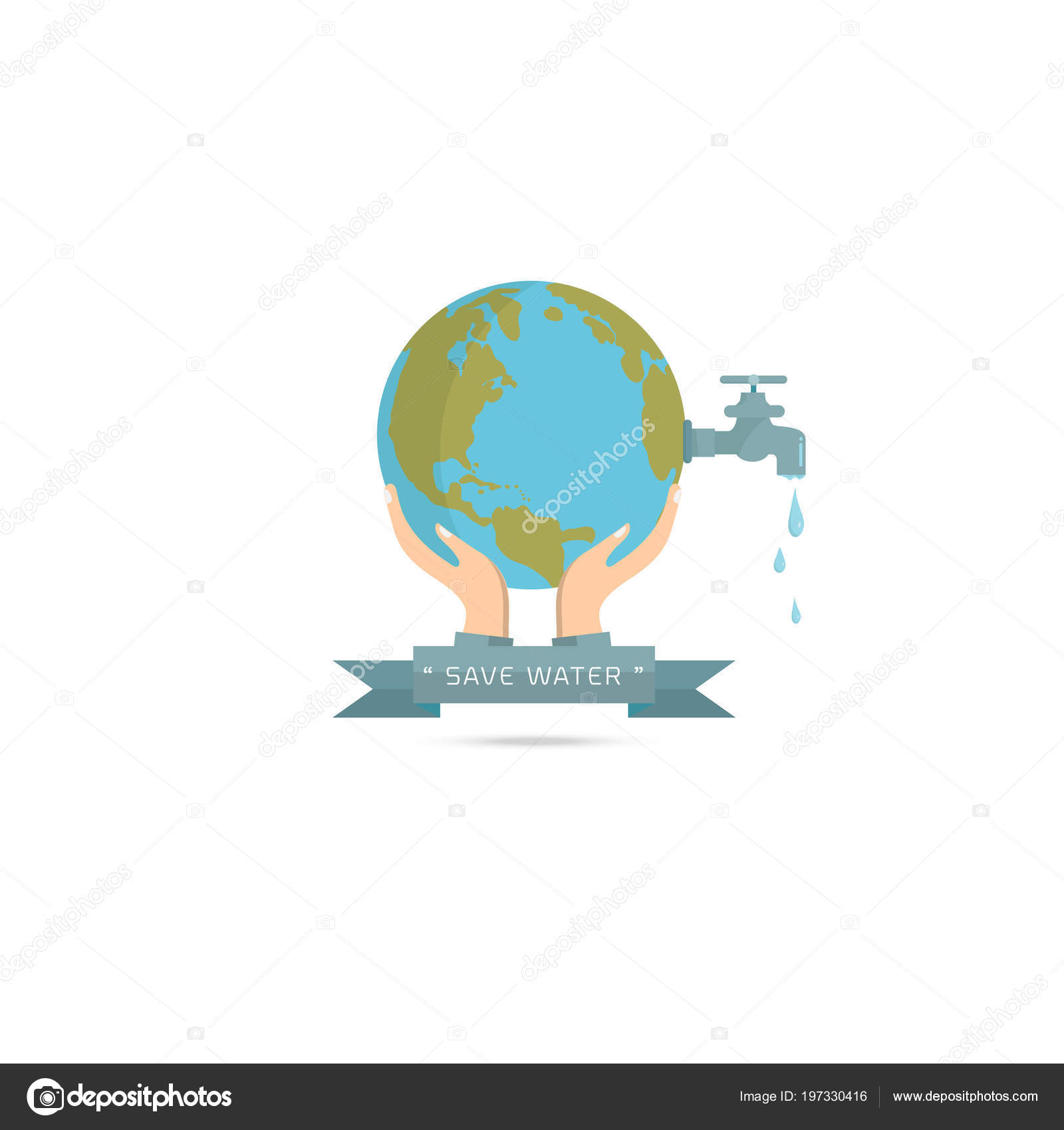 Water World Day Hand Hold Faucet Water Tap Drop Water — Stock Vector ...