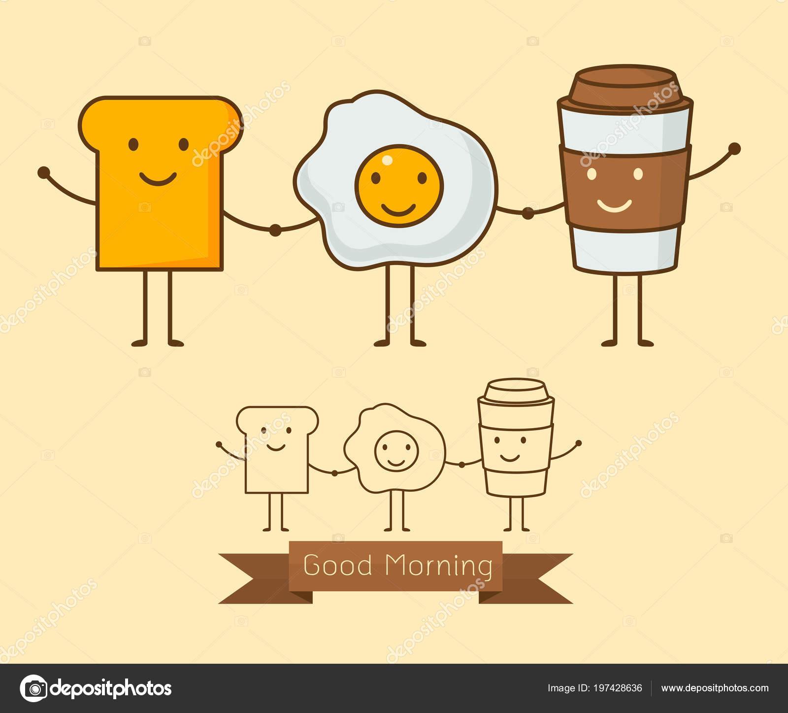 Best Friends Breakfast Good Morning Set Cute Picture Cartoon Icon