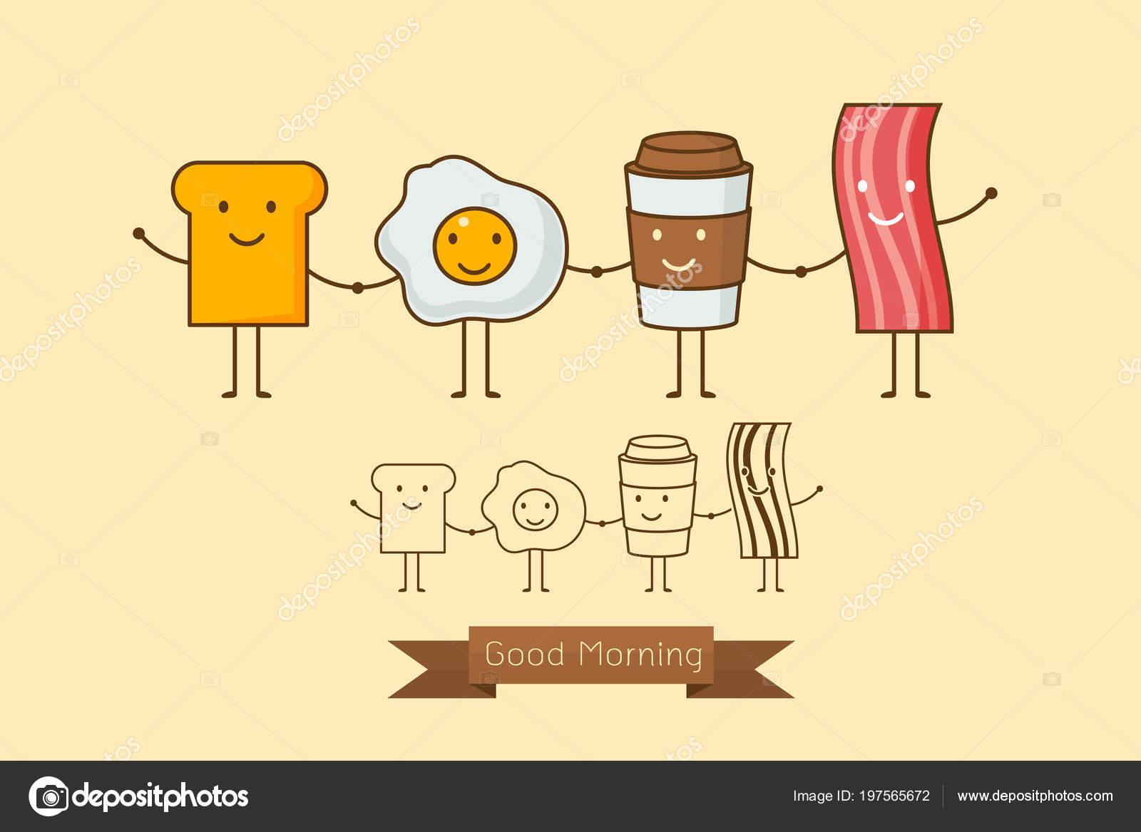 Mejores Amigos Desayuno Buenos Días Conjunto Icono Dibujos Animados